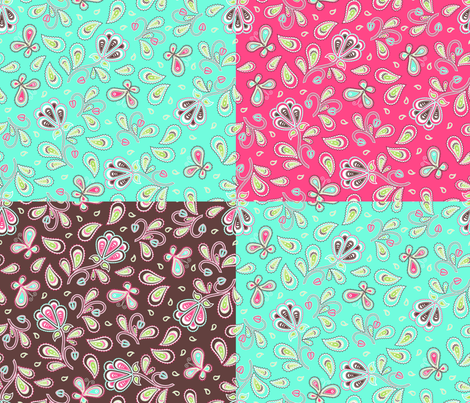 Paisley garden 4 in 1 fabric by cjldesigns on Spoonflower - custom fabric