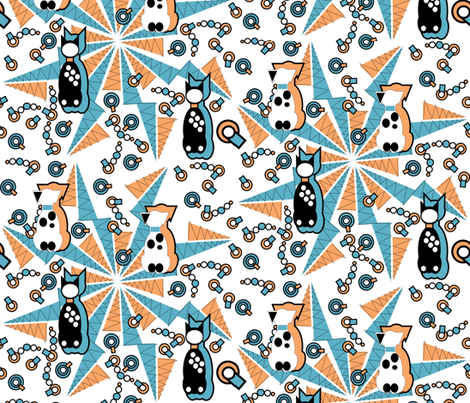 Art Deco Pets fabric by eclectic_house on Spoonflower - custom fabric