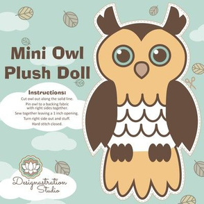 Mini Retro Owl Plush Doll