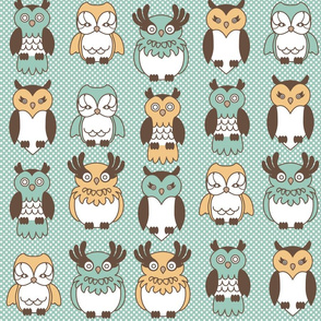 Owls with Blue