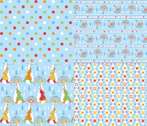 Rain drops are falling 4 for 1 fabric by cjldesigns on Spoonflower - custom fabric