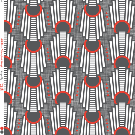 Art Deco Rings Red fabric by zesti on Spoonflower - custom fabric
