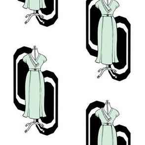 Mint Art Deco Dress on white