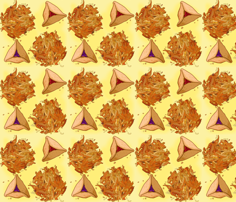 Hamentaschen and Latkes fabric by eve_s on Spoonflower - custom fabric