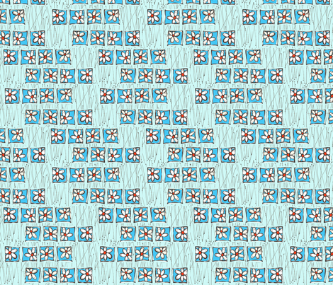 Blue Flowers in Twigs fabric by orangesweater on Spoonflower - custom fabric