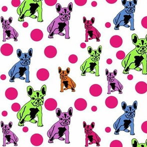french bulldog fabric SPRING bubbles