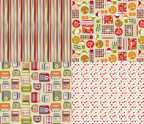 Retro radio 4 in 1 fabric by cjldesigns on Spoonflower - custom fabric