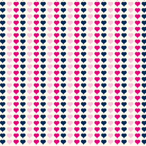 Love Struck - Valentine's Day Heart Stripe Pink & Navy fabric by heatherdutton on Spoonflower - custom fabric