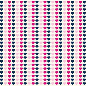 Love Struck - Valentine's Day Heart Stripe Pink & Navy