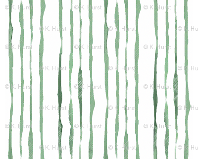 Shades of Green Hand-Drawn Stripes