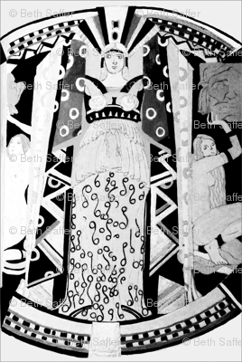 Deco Mythology - black and white