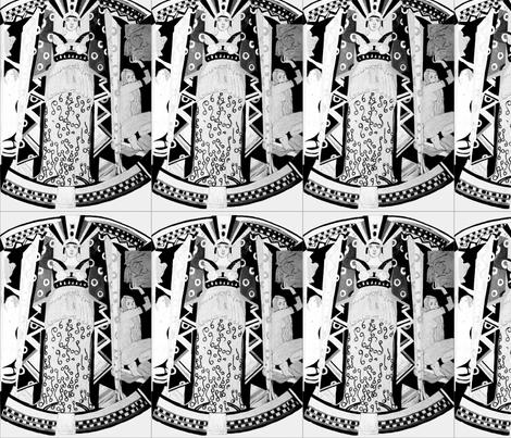 Deco Mythology - black and white fabric by bettieblue_designs on Spoonflower - custom fabric