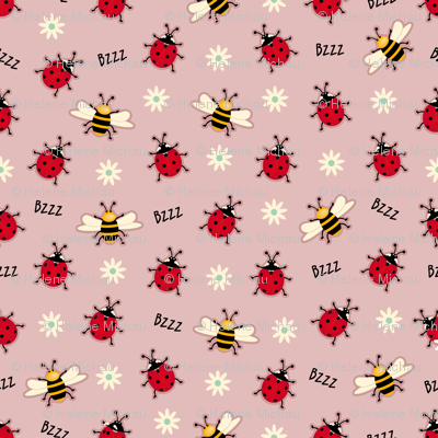 Ladybugs & Bees-Pink