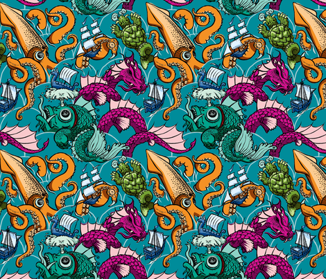 Sea Monsters (color) fabric by raul on Spoonflower - custom fabric