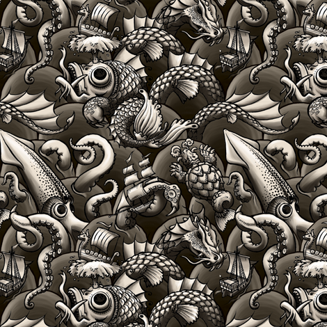 sea monsters map fabric by raul on Spoonflower - custom fabric