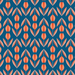 Tangerine Tulips on Blue