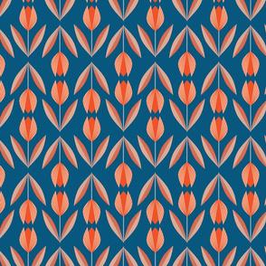 Tangerine Tulips on Blue