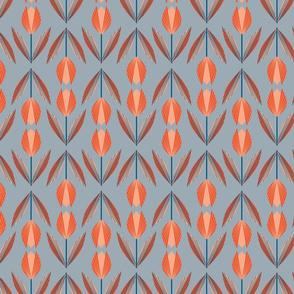 Tangerine Tulips on Gray