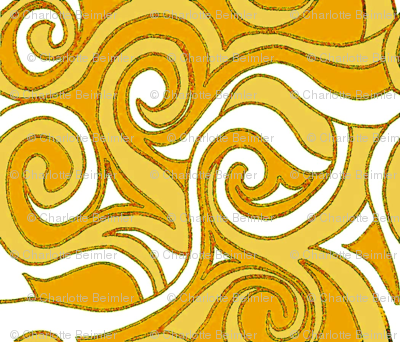 Swirling Waves- Yellow-Gold