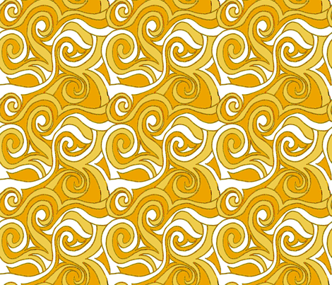 Swirling Waves- Yellow-Gold fabric by engravogirl on Spoonflower - custom fabric
