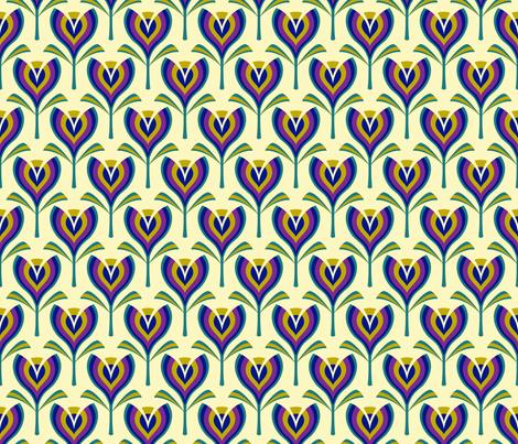 Deco tulips - cream fabric by coggon_(roz_robinson) on Spoonflower - custom fabric