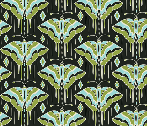 La maison des papillons - Butterflies Black & Green fabric by heatherdutton on Spoonflower - custom fabric