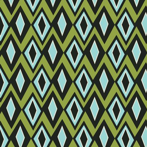 Diamant - Retro Geometric Green Blue & Black fabric by heatherdutton on Spoonflower - custom fabric
