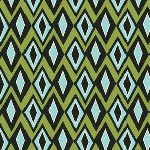Diamant - Retro Geometric Green Blue & Black