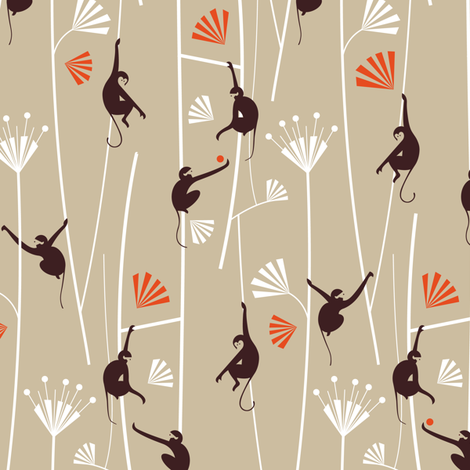 Monkey Art Déco_brown fabric by happy_to_see on Spoonflower - custom fabric