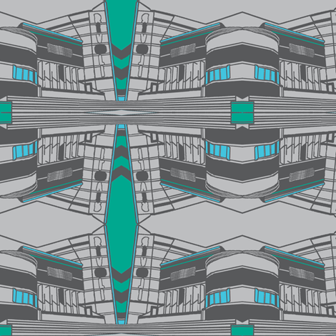 Art Deco Rivoli Repeat - Grey Green-ch fabric by upcyclepatch on Spoonflower - custom fabric