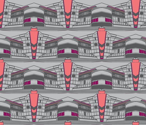 Art Deco Rivoli Repeat - Grey Pink Purple fabric by upcyclepatch on Spoonflower - custom fabric