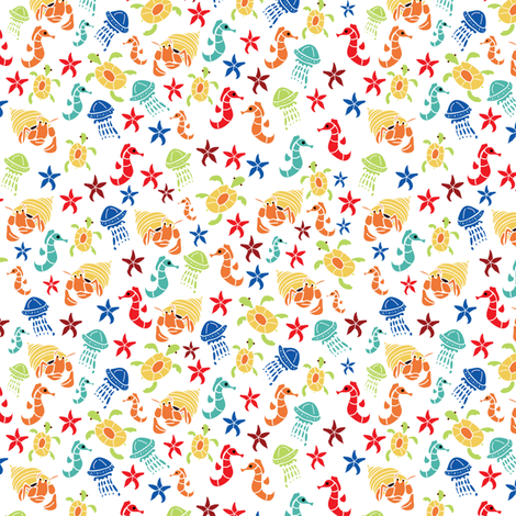 Ditzy Sea Creatures Bright - by ebygomm fabric by upcyclepatch on Spoonflower - custom fabric