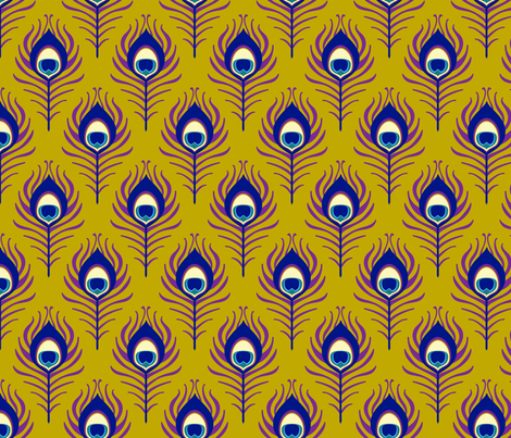 Peacock feather - mustard fabric by coggon_(roz_robinson) on Spoonflower - custom fabric