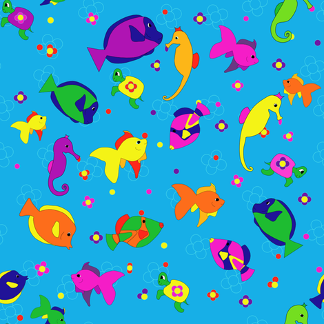 Flower_Power_sea creatures fabric by alexsan on Spoonflower - custom fabric