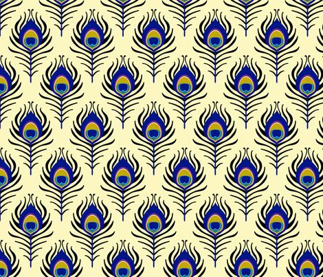 Peacock feather - cream fabric by coggon_(roz_robinson) on Spoonflower - custom fabric