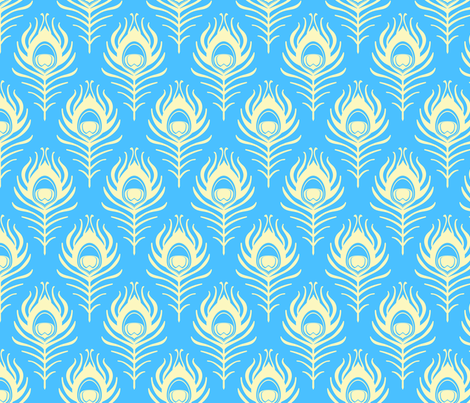 Peacock feather - blue and cream fabric by coggon_(roz_robinson) on Spoonflower - custom fabric