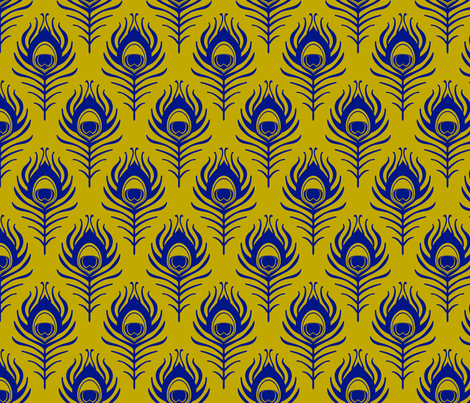 Peacock feather - mustard and blue fabric by coggon_(roz_robinson) on Spoonflower - custom fabric