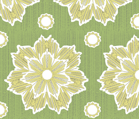 ROXY STAR in yarrow & soft green fabric by trcreative on Spoonflower - custom fabric
