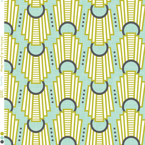 Art Deco Rings Rio De Janeiro aqua fabric by zesti on Spoonflower - custom fabric