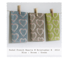 Faded French Hearts - Brown