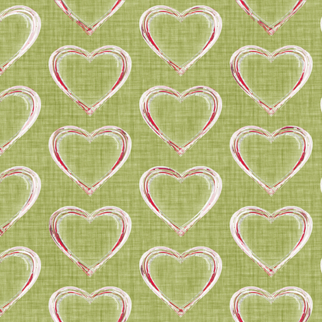 Faded French Hearts - Green fabric by kristopherk on Spoonflower - custom fabric