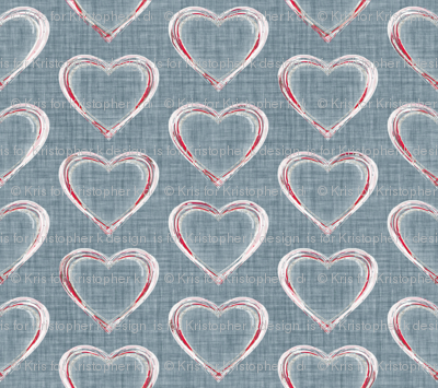 Faded French Hearts - Blue