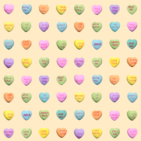 conversation hearts fabric by jellymania on Spoonflower - custom fabric