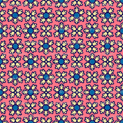 Blue and Pink Floral coordinating fabric ©2012 by Jane Walker