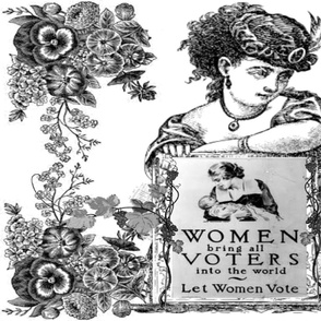 WOMEN VOTERS BLACK TOILE PILLOW