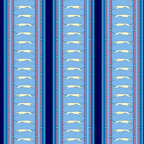 Blue Stripe Running Greyhound print  ©2012 by Jane Walker fabric by artbyjanewalker on Spoonflower - custom fabric