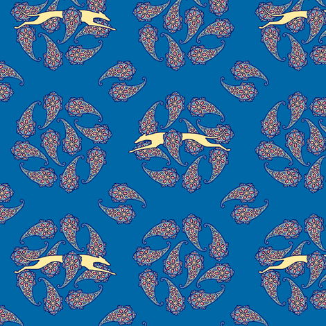 Blue Paisley Circles and Running Greyhounds fabric by artbyjanewalker on Spoonflower - custom fabric