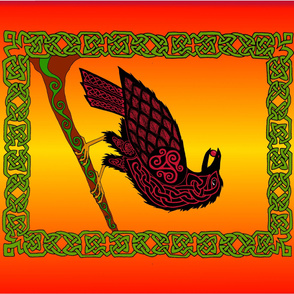 Celtic Raven Banner Fire colors