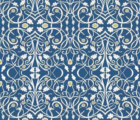 Blue Art Deco fabric by rennata on Spoonflower - custom fabric