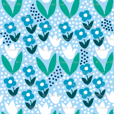 Tiny blue and white floral